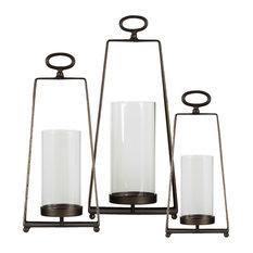 Sophie 3-Piece Metal Lantern Set, Metallic Gray