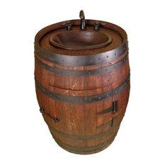 Raw - Redford Wooden Barrel Vanity With Sink, Mahogany, 28