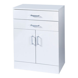 High Gloss Trento Bathroom Cabinet With Soft Close Double Doors, White