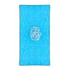 Hand of Fatima Beach Towel, Blue and Silver
