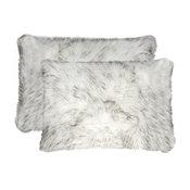 "Belton Faux Fur Pillows, Set of 2, Gradient Gray, 12""x20"""