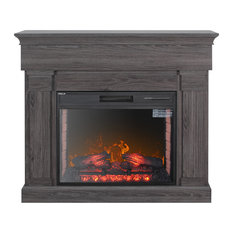 Della - Freestanding Electric Fireplace Heater, Gray - Indoor Fireplaces