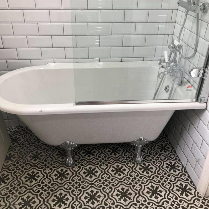 Patterned Floor with Freestanding Tub
