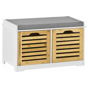 Contemporary Storage Bench in White MDF with Linen Fabric Seat and 2 Drawers