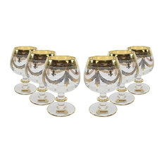 Interglass Italy 6pc Luxury Crystal Glasses, Gold-Plated (12978 Clear Cognac)