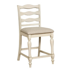 Ladder Back Wooden Counter Height Chair With Fabric Seat Pack Of Two Antique W