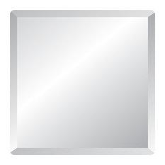 "Frameless Mirror with Polished Beveled Edges, 18"" Square"