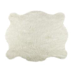 Luxe Faux Fur   Faux Hide Rug/Throw, Off White, 5u0027x7