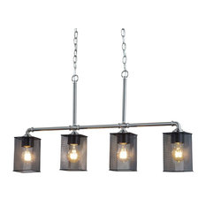 Wire Mesh Bronx, 4-Light Island Chandelier, Brushed Nickel, Square With Flat Rim