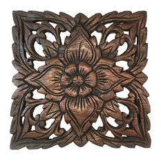Asiana Home Decor Carved Wood Plaquerustic Wall Decorfl Panel 9 5