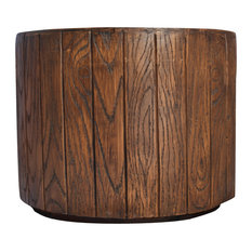 "13"" Tall Round Wood Color Fiberstone Planter"