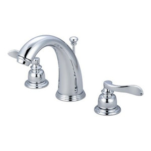 """Nuwave French 2 Handle 8""""-16"""" Widespread Faucet, Brass Pop-up, Polished Chrome"""