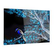 """Beautiful Bird on Flowering Branch"" Glossy Metal Wall Art, 28""x12"""