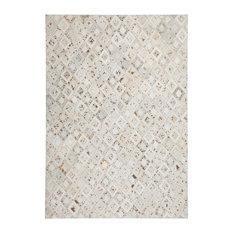 Spark Diamonds Leather Area Rug, Ivory and Chrome, 120x170 cm