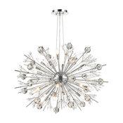 Starburst Atomic 24-Light Chrome Finish Clear Crystal Sputnik Chandelier