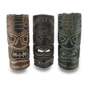 Set of 3 Polynesian Style Primitive Hand Carved Tiki Masks 39 inch