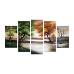 """""""Trees in All Seasons"""" Forest Painting, 60""""x32"""""""