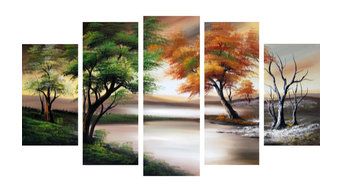 """Trees in All Seasons"" Forest Painting, 60""x32"""