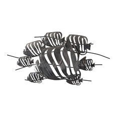 Beaux Arts Cluster of Tropical Fish Metal Wall Art, 61x118 cm