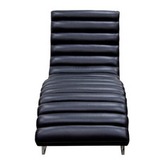 Bardot Chaise Lounge With Stainless Steel Frame, Black