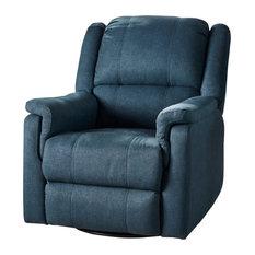 GDF Studio Jemma Tufted Fabric Swivel Gliding Recliner Chair, Navy Blue