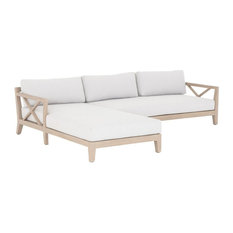 Huntington Natural Teak 2-Piece Outdoor Sectional, Left Facing Laf