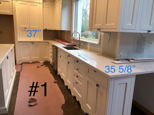 Diffe Height Base Cabinets Wall, Adding Height To Kitchen Base Cabinets