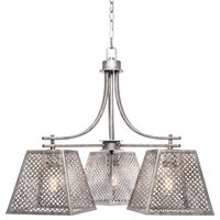 """Corbello 3-Light Chandelier, 9.5"""" Aged Silver Shades and Clear Antique LED Bulbs"""