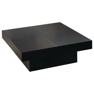 Square Motion Storage Coffee Table In Wenge Finish