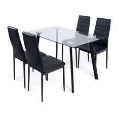 60fc4fd56b Modern Style Dining Tempered Glass Top Table and Chairs, 5 Piece Set