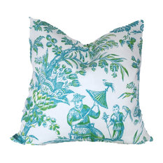 """Turquoise and Lime Chinoiserie Pillow Cover, 22"""" X 22"""""""