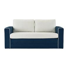 Sofamania   Convertible 2 Tone Modular Sleeper Sofa, Memory Foam Seat, Navy/