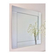 spancraft ltd overlay frameless mirror with polished beveled edges 30 square - Modern Bathroom Mirrors