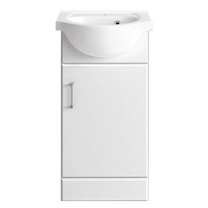 Modern Vanity Unit Sink Cabinet in MDF with White Ceramic Basin, 2 Doors