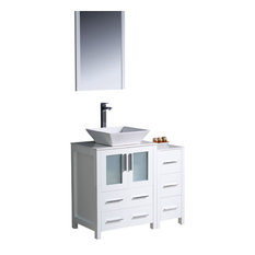 "Torino 36"" White Vanity, Side Cabinet and Vessel Sink Tolerus Chrome Faucet"