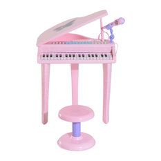 Qaba 37 Key Kids Baby Grand Digital Piano With Microphone and Stool, Pink