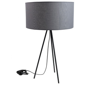 Wide Fabric Table Lamp, Grey