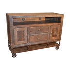 Solid Wood TV Stand - Rustic - Entertainment Centers And Tv Stands - by Crafters and Weavers