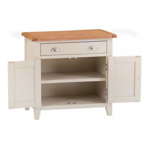 Traditional Sideboard, Grey Painted Wood With Drawer, 2-Door and Inner Shelf