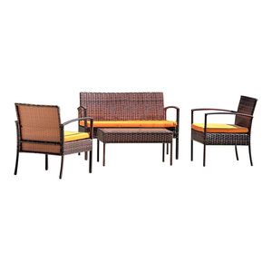 Super Outsunny 4 Piece Outdoor Armchair And Loveseat Conversation Lamtechconsult Wood Chair Design Ideas Lamtechconsultcom