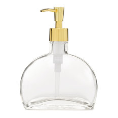 Half Moon Glass Soap Dispenser With Gold Pump