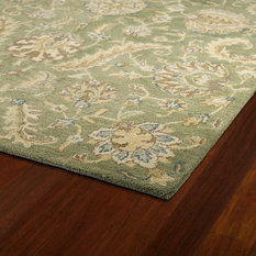 1st Avenue - Flandre Hand-Tufted Floral Wool Rug, Green, 10'x14' - Area Rugs