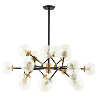 Amber Glass And Antique Brass 18 Light Pendant Chandelier