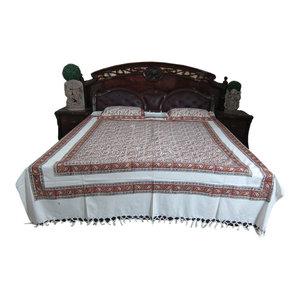 Mogul Interior - Indian Bedding Cotton Kalamkari Design Bedspreads 2 Pillows Boho Paisley Design - Blankets