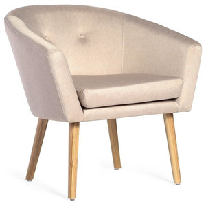 Lanster Scandinavian Upholstered Armchair With Ash Legs, Beige