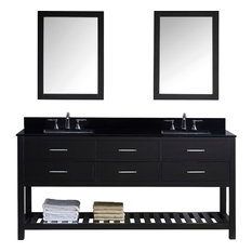 "Caroline Estate 72"" Double Vanity, Without Faucet, Square, Double Mirror"