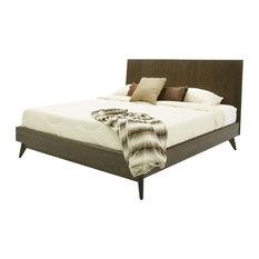 Modrest Novak Modern Dark Oak Bed, Queen