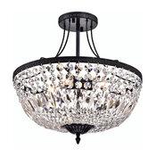 3-Light Antique Black Crystal Basket Semi Flush Mount Ceiling Fixture