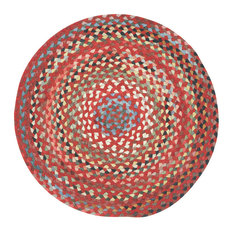 St. Johnsbury Braided Round Rug, Medium Red, 5'6""
