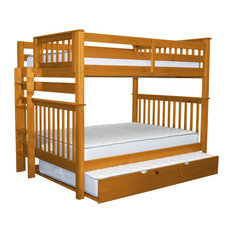 Bunk Bed King - Bedz King Bunk Beds Full Over Full With End Ladder and Full Trundle, Honey - Bunk Beds